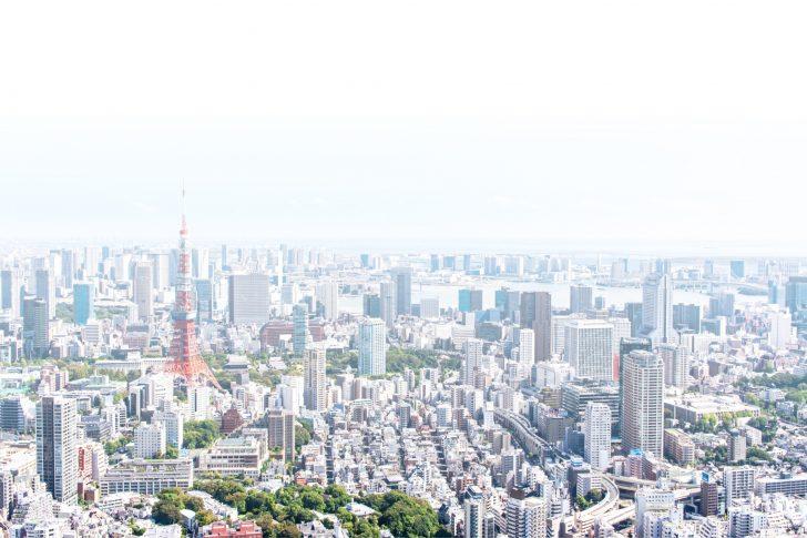 東京タワーがある街空撮